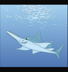 Large sawfish swimming in a tropical sea vector