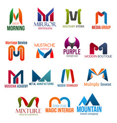 Letter m corporate identity business icons vector
