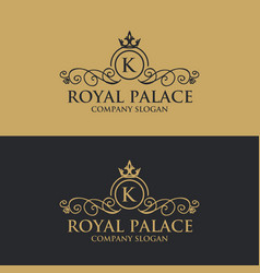 luxury floral decorative logo vector image