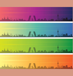 Madrid multiple color gradient skyline banner vector