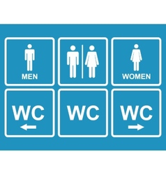 Male and female WC icon denoting toilet restroom vector image
