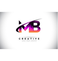Mb m b grunge letter logo with purple vibrant vector