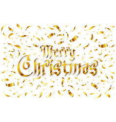 merry christmas - gold glittering lettering vector image