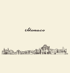 Monaco skyline vintage city drawn sketch vector