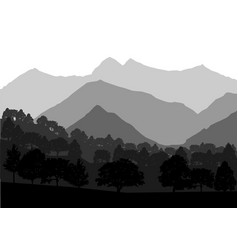 Mountains and forest landscape vector