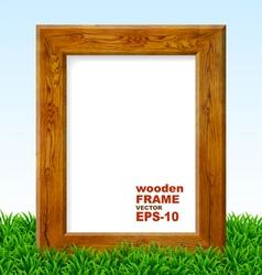 Oak frame with green grass vector