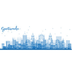 outline guatemala city skyline with blue buildings vector image