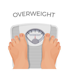 overweight human with fat feet on scales isolated vector image