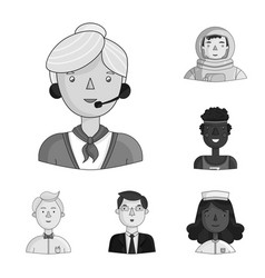 People of different professions monochrome icons vector
