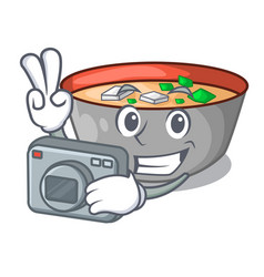 photographer miso soup bowl on table character vector image