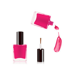 pink nail polish in bottle with the bottle lid on vector image
