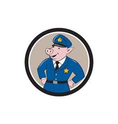 Policeman Pig Sheriff Circle Cartoon vector