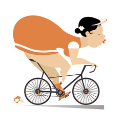 Pretty plump young woman rides a bike vector