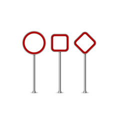 Realistic blank red street and road signs vector