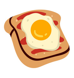 sandwich or crispy toast with fried egg and sauce vector image
