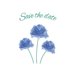Save the date watercolor blue rose vector