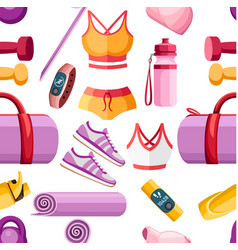 seamless pattern set sports accessories and vector image