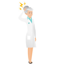Senior caucasian doctor with lightning over head vector