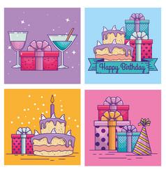 Set happy birthday celebration with event vector