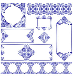 set of frames and lines blue and white design vector image