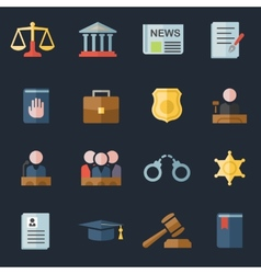 Set of law and justice flat icons vector