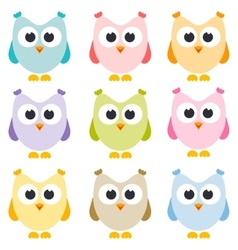 set of owls isolated on white vector image