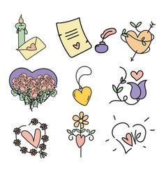 Set of valentines day design elements vector