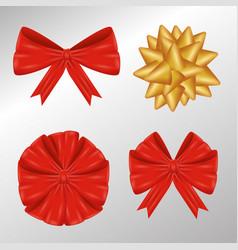 set ribbon bow to gift decoration vector image