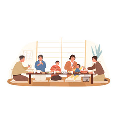 smiling japanese family eating national food vector image