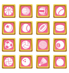 sport balls icons set pink square vector image