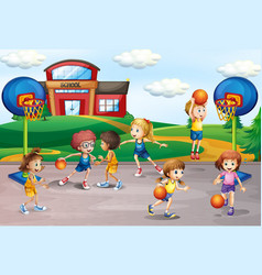 students playing basketball in physical education vector image