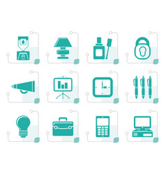 Stylized business and office icons vector
