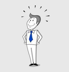 success cartoon man with happy smile vector image