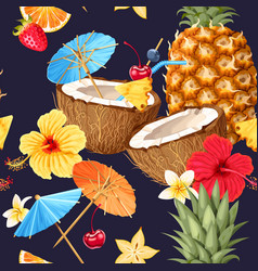 summer seamless cocktail background vector image