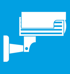 Surveillance camera icon white vector