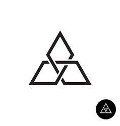 Triangle geometric knot outline logo Black corner vector image