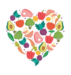 vegetables and fruits fresh shaped heart fresh vector image