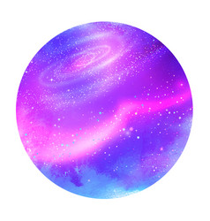 Violet circle background with outer space vector