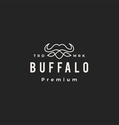 water buffalo monoline outline hipster vintage vector image