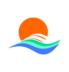 waves sunset logo icon vector image