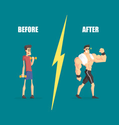 Weak and muscular men man before and after vector