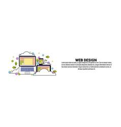Web design development concept horizontal banner vector