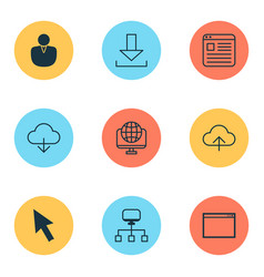 web icons set with application window network vector image