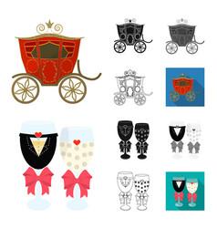 wedding and attributes cartoonblackflat vector image
