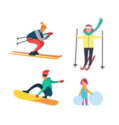 Winter active people wintertime hobbies set vector