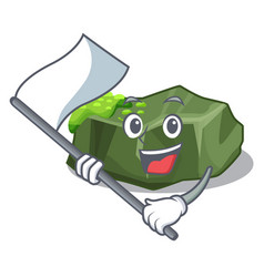 With flag green rock moss isolated on cartoon vector