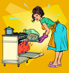 woman housewife bakes bird in oven vector image