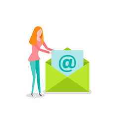 Woman opening envelope email newsletter vector