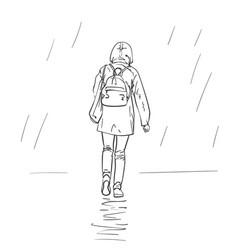 woman walking in rain in jacket with hood vector image