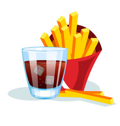 french fries and soda vector image vector image